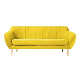 Žltá zamatová pohovka Mazzini Sofas Sardaigne, 188 cm
